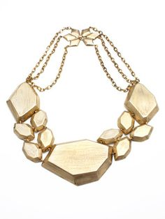 Citrine by the stones - gold geometric shape bib necklace. Want!
