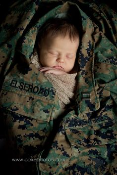 Colie Photos Newborn Photography   Newborn in Marine Cammies