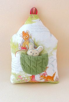 House Pillow with Pocket bunny playset by MiniwerkaToys on Etsy