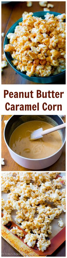 Salty, sweet, sticky, and easy-to-make Peanut Butter Caramel Corn. You won't be able to put this stuff down! A 20 minute recipe. - They had me at 'peanut butter caramel'. Popcorn Recipes, Snack Recipes, Dessert Recipes, Cooking Recipes, Homemade Peanut Butter, Peanut Butter Recipes, Cashew Butter, Butter Sauce, Yummy Snacks