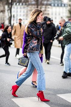 Silk floral jacket, cropped denim and red ankle boots