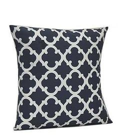 Monogrammed Navy Geometric Print Cushion by EmbroideryByLindaP