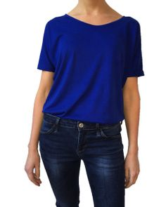 The new ANISA Slouchy Tee in Deep Blue - worn with jeans