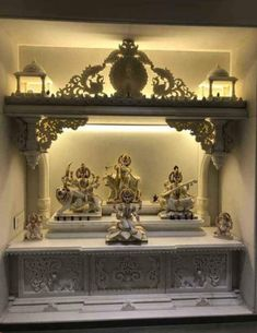 Temple Design For Home, Home Temple, Home Room Design, Living Room Designs, House Design, Mandir Design, Ganapati Decoration, Pooja Rooms, Marble Art