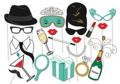 Here is the ultimate collection of Breakfast at Tiffanys photo booth props! Tons of Fun!! Great for a table centrepiece or Photo booth!  Contains