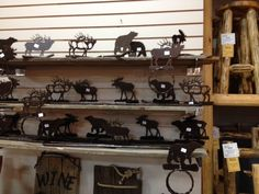 These are NEW metal art towel bars we just got in! Made of heavier weight steel cut into several different wildlife shapes to fit your rustic decor. Each has a tree bark textured finish to top off the look. Many animals to choose from!