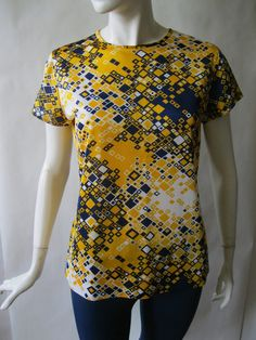 1960s geometric print silky blouse in navy by afterglowvintage, $26.00