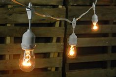 lights for all occasions - commercial edison drop string lights : 24 warm white bulbs + 48' white wire