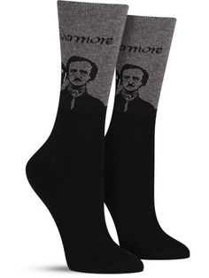 A master of language, mystery, sadness and romanticism, Edgar Allan Poe had a toe in many different facets of writing. Now, with just two socks, you can dip your feet in just as many. Pay homage to on