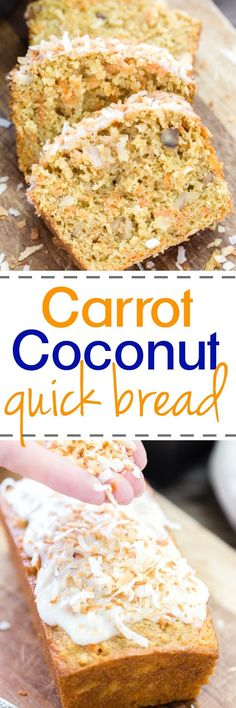This super quick and easy Carrot Coconut bread is loaded with carrots, coconut, walnuts with a creamy glaze and topped with toasted coconut. Perfect for breakfast, Easter and when company calls!