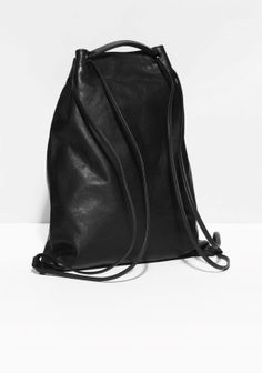 & Other Stories image 2 of Drawstring Leather Backpack in Black Leather Backpack Pattern, Black Leather Backpack, Black Leather Bags, Leather Handbags, Leather Backpacks, Leather Gifts, Leather Bags Handmade, Luxury Purses, Cheap Purses