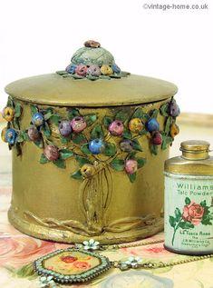 Vintage Home - Rose and Fruit Tree Barbola Pot. Vintage Tins, Vintage Vanity, Vintage Love, Vintage Flowers, Vintage Decor, Cold Porcelain Flowers, Ceramic Flowers, Century Textiles, Cement Crafts
