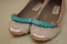 Marie Antoinette Pink and Aqua Ballet Flats by OxfordIsHeaven on Etsy