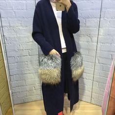 Women Winter Cashmere Coat With Big Real Fur Pocket Ladies Cardigan Y0667