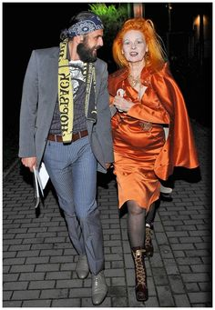 Vivien Westwood with her third husband. She is 25 years older.