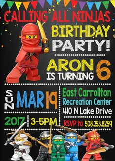 Lego Ninjago Birthday Invitation Lego Ninjago Birthday Party