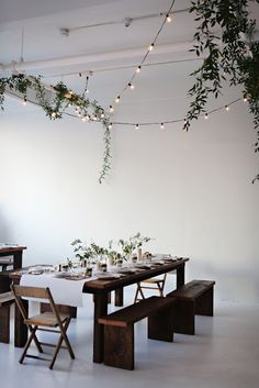 String lighting inside, why not?!  #natural #home #decor