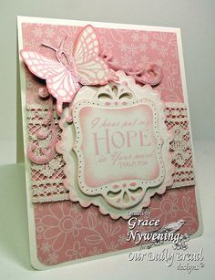 beautiful card in pink and cream  ... labels dies, butterfly. lace, patterned paper ... feminine Victorian look ...
