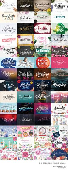 Fonts, vector graphics, script fonts, floral graphics | The Irresistible August Bundle by TheHungryJPEG | TheHungryJPEG.com