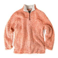 Half Zip Frosty Tipped Pile Pullover in Spice by True Grit