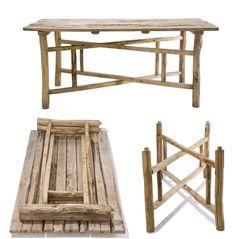 """Table pliante """"La Dosse"""" par Botanique Editions. Solide et fonctionnelle, cette table trouvera facilement sa place sur la terrasse ou au jardin; elle peut aussi se faire table d'appoint. Elle se plie facilement et peut se loger dans un volume réduit en fin de saison."""