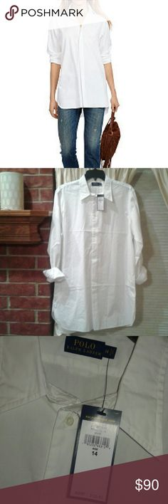 Polo Ralph Lauren Tunic NWT SZ 14. White tunic, partially buttoning front. Cute sleeves rolled or not. Polo by Ralph Lauren Tops Tunics