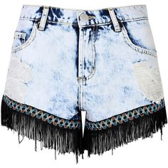 Light Blue Acid Wash Frayed Denim Shorts (26 AUD) ❤ liked on Polyvore featuring shorts, blue, jean shorts, ripped denim shorts, distressed shorts, short jean shorts and blue shorts