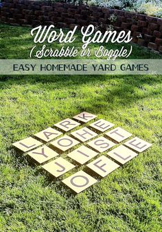 Cardboard Yard Games (Scrabble or Boggle) -- This summer, you can turn your backyard into a giant Sc Giant Outdoor Games, Outdoor Yard Games, Diy Yard Games, Lawn Games, Backyard Games, Outdoor Fun, Giant Yard Games, Diy Games, Outdoor Ideas