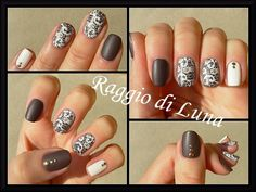 Raggio di Luna Nails: Born Pretty Store review Stamping plate BP-02 - White lace flowers on taupe