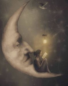 Surrealism Photography with a Gothic Influence Reading a book on the moon. Surrealism Photography with a Gothic Influence. By Erika Marie. The post Surrealism Photography with a Gothic Influence appeared first on Fotografie. Surrealism Photography, Art Photography, Gothic Photography, Night Photography, Landscape Photography, Sun Moon Stars, Paper Moon, Moon Magic, Beautiful Moon
