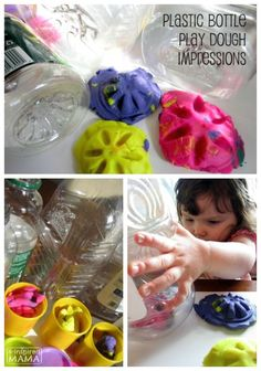 Play Dough Fun with a Common Recycling Bin Item!   So simple to set up this invitation to explore impressions and creativity for your toddler or preschooler.  And a fun sensory activity idea for proprioceptive sensory input, too.    Also great for tying into a preschool or homeschool lesson on Recycling, Reusing, or Earth Day!