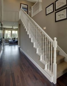 White banister, painted banister, white staircase, wood railings for stairs Wood Railing, Home, Staircase Railings, Foyer Decorating, Banister Remodel, New Homes, White Stairs, Stairs Design, Stairs