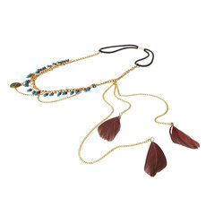Gold Chains with Brown and Blue Beads and Dangling Feathers Headwrap