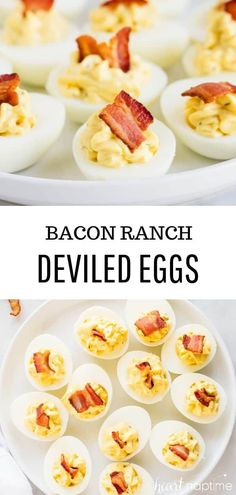 Bacon Ranch Deviled Eggs - Flavorful deviled eggs with bacon and ranch seasoning. The perfect party appetizer that is always a crowd pleaser! Bacon Appetizers, Appetizers For A Crowd, Finger Food Appetizers, Easy Appetizer Recipes, Food For A Crowd, Finger Foods, Appetizer Ideas, Easter Recipes, Egg Recipes