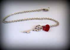 Ruby Red Skeleton Key Necklace Red Heart by beadedjewelryforyou, $24.99