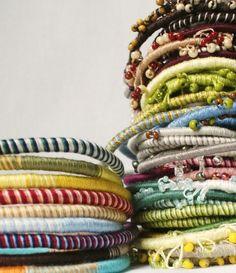 fiber wrapped necklace | Textile Wrapped Bracelets