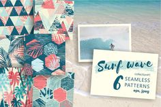 Surf wave. 6 seamless patterns. by GrapeStudio on @creativemarket