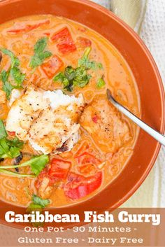 Caribbean Fish Curry = one pot meal ready in 30 minutes. Creamy blend of coconut. Caribbean Fish Curry = one pot meal ready in 30 minutes. Creamy blend of coconut milk, tomatoes, curry spices and tender red snapper. Both Gluten Free. Fish Dishes, Seafood Dishes, Seafood Recipes, Cooking Recipes, Healthy Recipes, Seafood Curry Recipe, Red Curry Fish Recipe, Good Curry Recipe, Fish Recipes Gluten Free