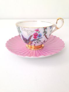 Vintage English Bone China Old Royal Footed Teacup and Saucer Tea Party Cottage Style