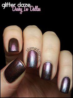Glitter Daze Dusky In Dallas (over black, with ring & pinky over dark navy blue)
