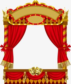 vector image of the illuminated puppet show booth with theater masks red curtain and signboards Frame Background, Paper Background, Wedding Symbols, Curtains Vector, Circus Theme Party, Booth, Puppet Show, Indian Art Paintings, Frame Clipart