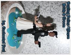 Dueling Police Officer Wedding Cake Topper Personalized Custom