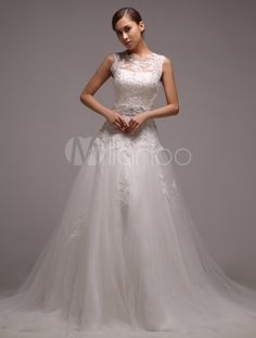 Ivory A-line Sequin Court Train Bride's Wedding Dress - Milanoo.com