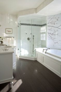 LOVE - this bathroom and how simple but gorgeous it is. And I LOVE the wood grain tile floor!!