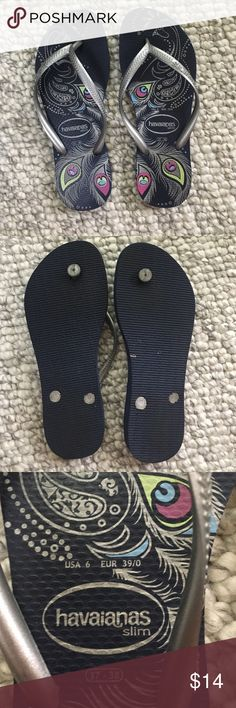HAVAIANAS SLIM Flip Flops Navy Print with silver Havaianas Shoes Flats & Loafers
