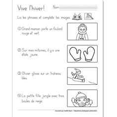 Vive l'hiver (1re année) French Teaching Resources, Teaching Themes, Teaching French, Amelie Pepin, French Practice, French Worksheets, Core French, French Classroom, French Immersion