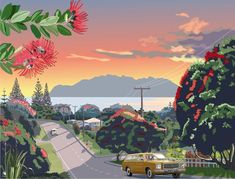 Road to Leigh 1979 by Contour Creative Studios - Retro Posters for Sale - New Zealand Art Prints Vintage Travel Posters, Retro Posters, New Zealand Landscape, New Zealand Art, Retro Pictures, Nz Art, Kiwiana, Sale Poster, Beach Art