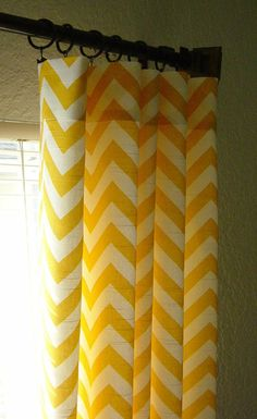 Glorious Make Rod Pocket Curtains Ideas. Enchanting Make Rod Pocket Curtains Ideas. Retro Curtains, Chevron Curtains, No Sew Curtains, Yellow Curtains, Cool Curtains, Shower Curtains, New Room, Child's Room, Bath Room