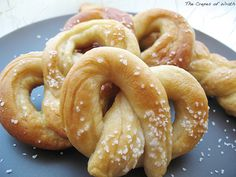 Homemade soft pretzels-- REALLY good, and easy.  Took about 30 min, tops, once the bread machine did its part.  I did this half with all purpose flour and half with white whole wheat and it was too dry.  Next time I'll add some more water to the dough.