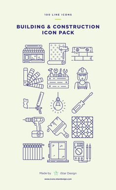 Building and Construction Icons Set made by iStar Design. Series of 100 pixel-perfect icons, created by influence of construction, building and home repair. E Design, Icon Design, Design Layouts, Web Layout, Handyman Logo, Building Icon, Presentation Layout, Time Tattoos, Line Illustration